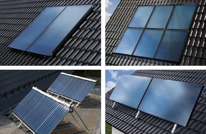 kolektory słoneczne zabudowane na dachu
