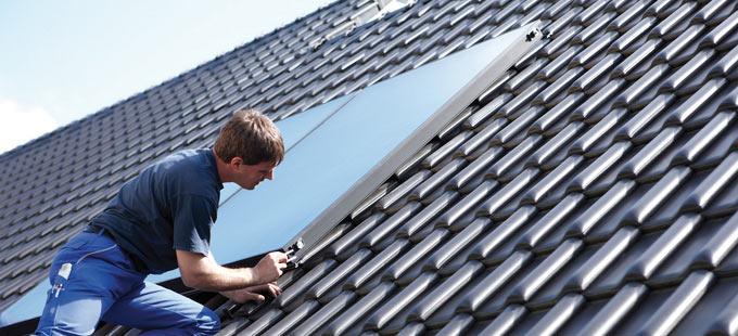 Kolektory słoneczne płaskie montaż na dachu